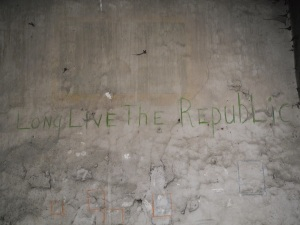 Slogan painted in green over whitewash 'Long Live the Irish Republic' located in cell on Corridor 1 of Top Floor.