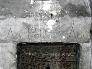 Painted over whitewash. Slogan in Irish ' An Poblacht Abu'. Located in Sighle Humphries's cell (Corridor 2, Middle Floor)