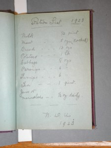 Ration List (from NDU) located in the Autograph Book of Mary Twamley (Kilmainham Gaol Archive).