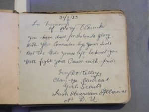 Located in the Autograph book of Brigid Reed (Kilmainham Gaol Archive).