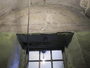 Patrick Pearse Quotation across archway leading to '1916 Corridor' on Middle Floor: 'Beware the Risen People / That have harried and held ye who have and bullied and bribed.' (this quotation is also located on a wall on Corridor 1 of the Top Floor).