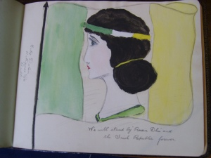 Image of female personification of Ireland located in an autograph book (Kilmainham Gaol Archive).