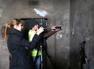Laura McAtackney and Gary Devlin using RTI in Patrick Pearse's Cell in '1916 Corridor'.